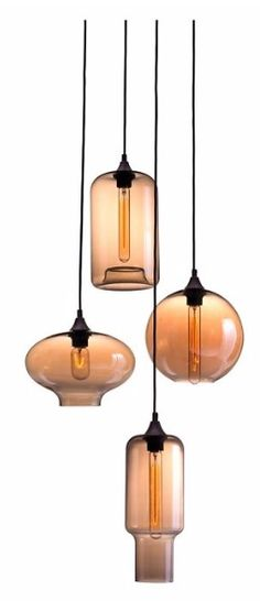 The Lambie pendant light has a Bohemian vibe with four glass amber globes suspended elegantly by precise cords from a mounted ceiling plate. Create an impeccable entrance for lobbies, stairwells or vaulted ceilings.