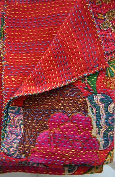 Red Floral Cotton Kantha
