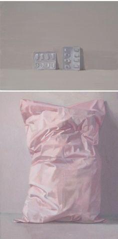 """Alex Hanna: (top) """"Pill Packaging 2a,"""" 11.8"""" x 15.7"""" x 1.2""""; (bottom) """"Sweet Dreams"""" 29.5"""" x 23.6"""" x 1.2"""""""
