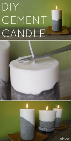 projects with cement DIY Cement Candle Tutor. projects with cement DIY Cement Candle Tutorial Use cement to create a set of modern, beautiful and elegant candles Wohnkultur Cement Art, Concrete Crafts, Concrete Projects, Diy Projects, Diy Candle Projects, Concrete Art, Concrete Garden, Concrete Design, Craft Tutorials