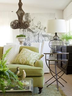 This is the look I want for my screened porch: apple green + cream, with whimsical, natural touches