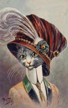 postcard by Arthur Thiele, Fancy Cats, Cute Cats, Anthro Cat, Black Cat Art, Cats For Sale, Red Cat, Cat Hat, Animals Images, Cool Pets
