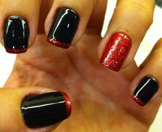 Red and Black Nails with Glitter