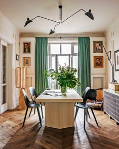 Emerald green curtains for the win every dang time. Perfect dining room by Poland based Colombe Design via @archdigest #colombedesign…