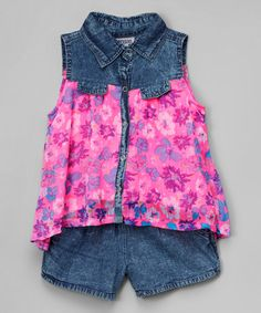 Another great find on #zulily! Blue Denim & Pink Button-Up & Shorts - Infant, Toddler & Girls #zulilyfinds