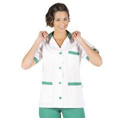 532 - bata limpieza blanca de mujer en manga corta y con botones combinada con verde