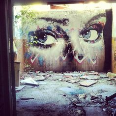 Just Painted this quickly at an Abandon Girls Mental Institution #rone #creepy - @r_o_n_e- #graffiti #streetart #eyes