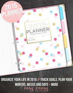2015 Planner // 2015 Organizer 8.5x11 Planner by EasyPeasyPaper