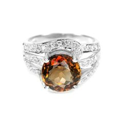 GORGEOUS GENUINE 4.41ct Imperial Topaz on HANDMADE Cocktail ring, size 7.25 - 925 Sterling SIlver