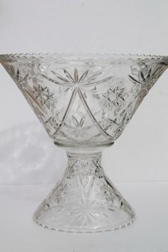 huge glass punch bowl & stand, vintage Anchor Hocking EAPC star pattern prescut