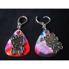 Hand crafted dangle Hello Kitty Earrings by BobLeeArt on Etsy via Polyvore