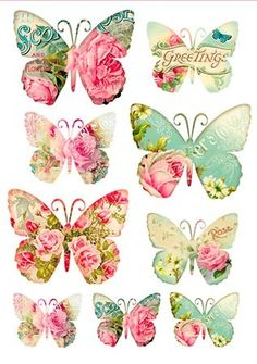 Stamperia Decoupage Rice paper with colorful butterflies, butterfly tags with pretty roses, Greetings. Vintage Butterfly, Butterfly Art, Butterflies, Decoupage Vintage, Vintage Paper, Decoupage Plates, Etiquette Vintage, Decoupage Printables, Images Vintage