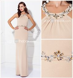TS Couture® Formal Evening Dress - Champagne Plus Sizes / Petite Sheath/Column Jewel Floor-length Jersey