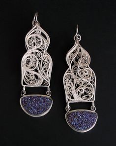 "Earrings | Victoria Lansford.  ""Casablanca III"" .  Russian filigree; sterling, fine silver, titanium bonded chalcedony drusies"