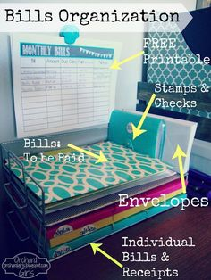 Orchard Girls – Bill Organization… or just get Sweeps to help organize your ho… – Finance tips, saving money, budgeting planner Organization Station, Office Organization, Paper Organization, Organizing Ideas For Office, Receipt Organization, Organized Office, Financial Organization, D House, Home Management