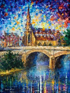 Castle By The River — PALETTE KNIFE Oil Painting On Canvas By Leonid Afremov #AfremovArtStudio #afremov #art #painting #fineart