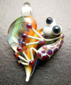 Lampwork heart frog pendant charm boro bead Boomwire Handmade glass jewelry