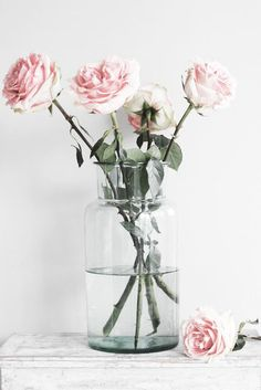 Artistic and organic pink rose arrangement.