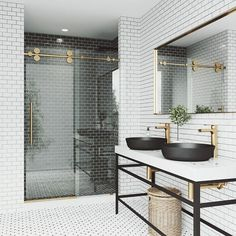 Updating your bathroom this summer? Here's a ⚙️ProTip: Don't overlook the shower door! The right door glass can showcase (or hide!) your shower wall tile while the shower door hardware creates a luxe look. Vigo Shower Doors, Frameless Sliding Shower Doors, Glass Shower Doors, Sliding Doors, Future House, Deco Glass, Gold Shower, Decoration Design, Bathroom Styling