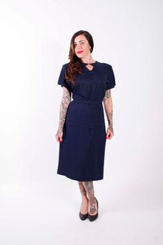 Vintage 1940s Evening Dress Navy Blue Rayon 40s by stutterinmama, $174.00