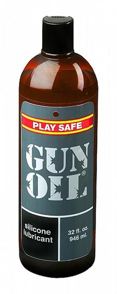 Gun Oil Lubricant Pump Bottle 32 ounces EPG032. Developed by a USMC soldier to replace the actual gun oil used for solo sessions during deployment, Gun Oil contains no oil and is a silicone based medical grade formula. Lube feels amazing no matter what sexual rigors you test it with. Between the sheets, underwater, solo, or during partner play,