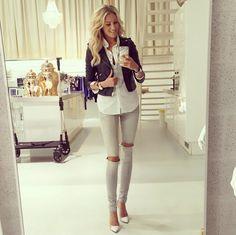 JOSH V | Outfit of the day https://joshv.com/eu/clothing-joshv #JOSHV #Outfit #OOTD #Blouse #Bikerjacket #Jeans #Fashion #Inspiration