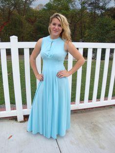 Beautiful Vintage Maxi Dress Blue