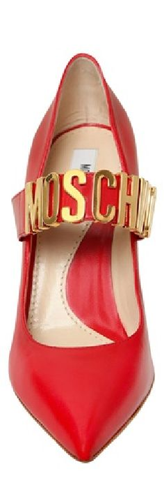 MOSCHINO 100MM MOSCHINO LETTERING LEATHER PUMPS Gold Fashion, Fashion Shoes, Fashion Accessories, Red Shoes, Me Too Shoes, Women's Shoes, Simply Red, All About Shoes, Burgundy And Gold