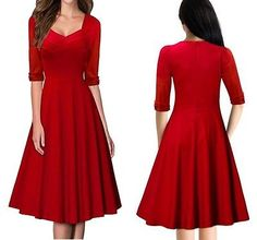 Women's Elegant A Line Evening Wedding Cocktail Maxi Knee-length Dress - Red L