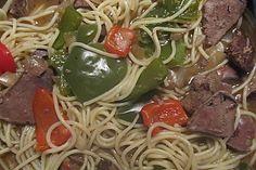 Leber-Paprika-Spaghettitopf, ein gutes Rezept aus der Kategorie Gemüse…