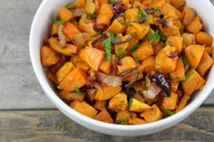 These maple-bacon roasted sweet potatoes are salty, sweet, comforting and are the perfect addition to a weeknight meal or a holiday feast.