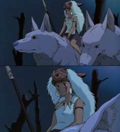 Princess Mononoke is so awesome because since she grew up with wolf spirits she has a deep connection with nature but hates all humans lol