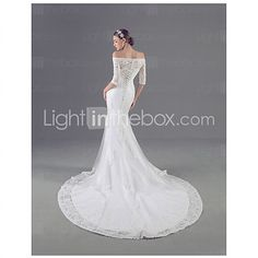 Trumpet / Mermaid Wedding Dress Court Train Off-the-shoulder Tulle with Appliques 2016 - $179.99
