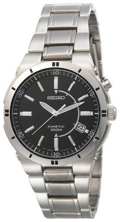Seiko Men's Kinetic Silver-Tone Watch « Holiday Adds Top Watches For Men, Cool Watches, Wrist Watches, Seiko Men, Expensive Watches, Seiko Watches, Sport Watches, Luxury Watches, Bracelets For Men