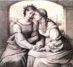 """Johann Friedrich Overbeck's """"Italia and Germania"""" (1815-28).  Staatliche Graphische Sammlung"""
