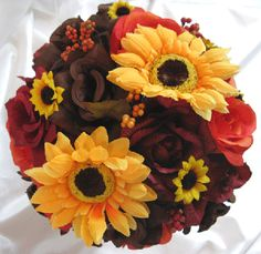 bridal bouquets with fall colors red roses sunflowers | Details about Wedding Bouquet Bridal Silk flowers FALL BROWN ORANGE ...