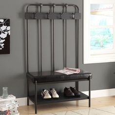 Monarch 60-inch Charcoal/ Black Entry Bench - Overstock™ Shopping - Great Deals on Benches
