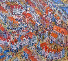 Jelenia Góra Edward Dwurnik All Art, Painters, City Photo, Contemporary Art, Scene, Polish, Illustration, Artist, Inspiration