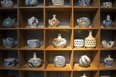 Small pottery on display shelves, Icheon, South Korea