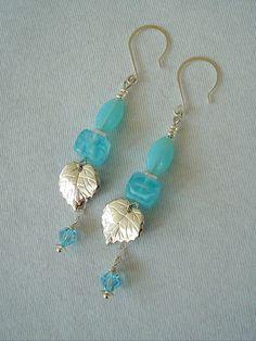 Boho Chic Earrings Aqua Earrings Leaves Bohemian by BohoStyleMe