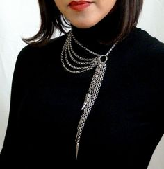 Silver Asymmetrical Multi Chain Spiked by PhoenixDesignJewelry