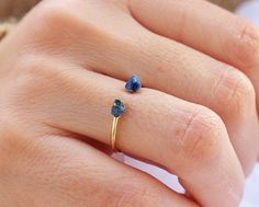 Raw Lapis Lazuli Gold Stacking Ring, Minimalist Ring, Delicate Ring, Stack, Druzy Ring, gift best friend, anniversary gift,