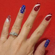 Fourth of July nail art design Funky Nails, Blue Nails, 4th Of July Nails, July 4th, American Flag Nails, Patriotic Nails, New Nail Designs, Holiday Nail Art, Artificial Nails