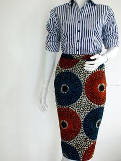 ok rayure + wax c'est trop mais la jupe <3 jupe crayon en wax africain n°1 : Jupe par openya-couture