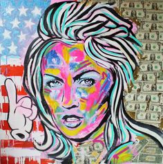 painting art frank e hollywood mixed media dollars fluor neon pink girls portrait