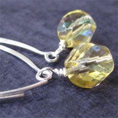 Earrings pale citrine yellow czech glass  by planettreasures