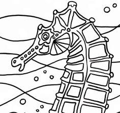 Seahorse coloring page Seahorse art digital by adultcoloringbook