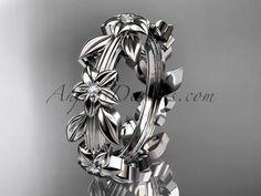14kt white gold diamond leaf wedding ring, engagement ring, wedding band ADLR316 - AnjaysDesigns