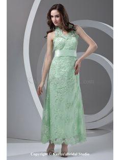 Lace Halter Neckline Column Ankle-Length Sash Prom Dress
