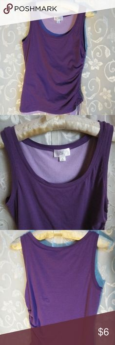 Ann Taylor Loft top Ann Taylor Loft Top *** size Medium - Purple and lavender colors with gather left side of top with draw strings. Machine washable. Length 25 inches long Width 16 inches across.  Smoke free environment.  Thank you for shopping in my closet today!! Ann Taylor  Loft Tops